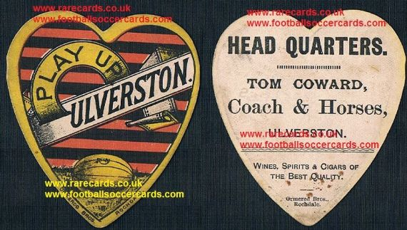 1880s Ormerod Ulverston rugby football Tom Howard Coach & Horses Inn card